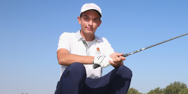 DOHA, QATAR - JANUARY 20: A 14-year-old amateur from Slovakia, Jakub Hrinda, who will become the youngest ever player to compete in the Commercial Bank Qatar Masters, poses for a portrait during the Pro-Am prior to the start of the Commercial Bank Qatar Masters at Doha Golf Club on January 20, 2015 in Doha, Qatar. (Photo by Andrew Redington/Getty Images)